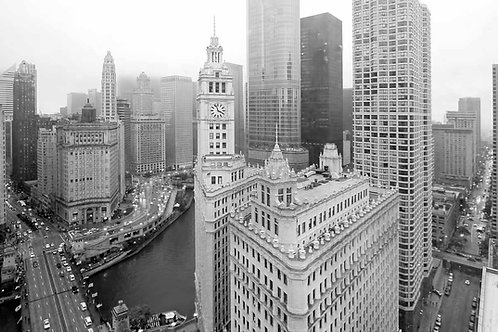 Wrigley Building from NE Black and White