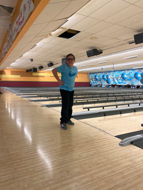 Mikey getting ready to bowl