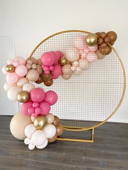 Gold Mesh Backdrop & Balloons