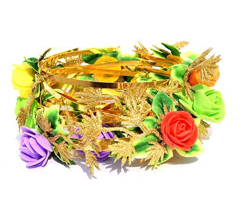 Set of 12 Handmade Flower Headbands with Golden leaf and Golden Band