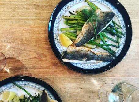 Sea Bass, New Potatoes and Asparagus