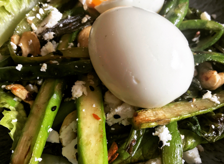 Soft Boiled Eggs & Warm Green Veg Salad