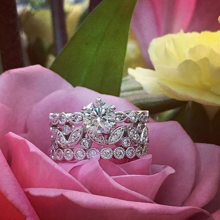 Beautiful day! Stackable mismatch bands are a must for spring! #sharethelex #sharethelove #springisforlovers #lexingtonky #engagementrings #
