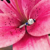 Sapphire accented engagement ring