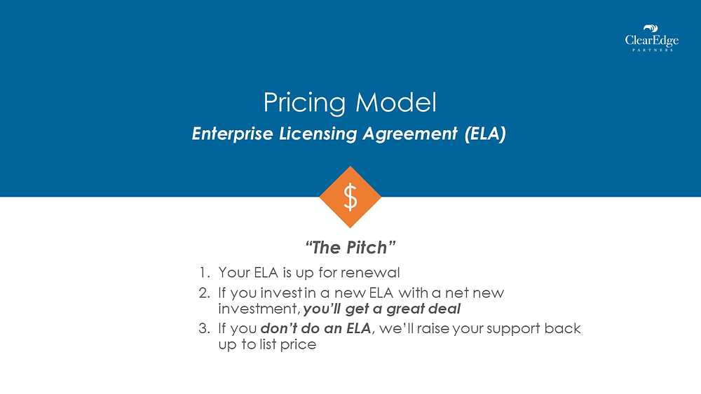 VMware ELA pricing model pitch - EA is up for renewal, will get great deal, if you dont your price will raise