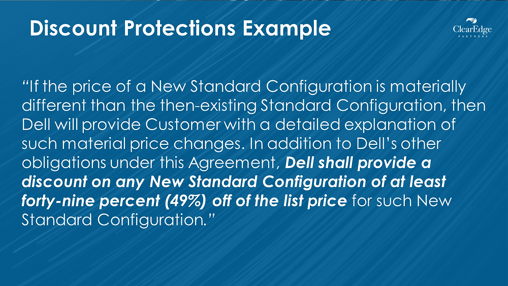 Discount Protections - describes agreement contract language with Dell for buying pcs with standard configuration