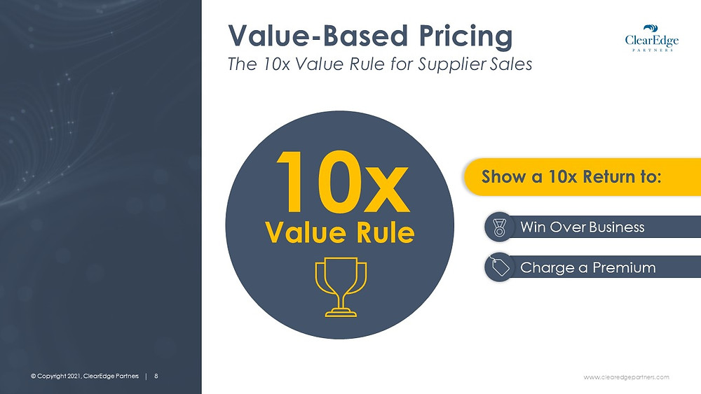 Value based pricing, value rule for supplier sales