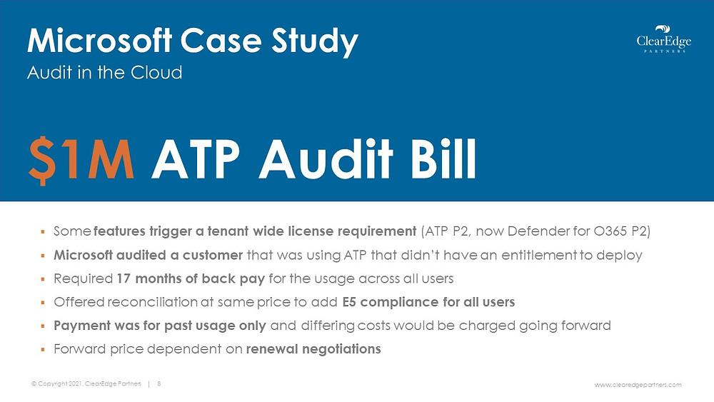 Microsoft Cloud audit case study license requirements renewal negotiation