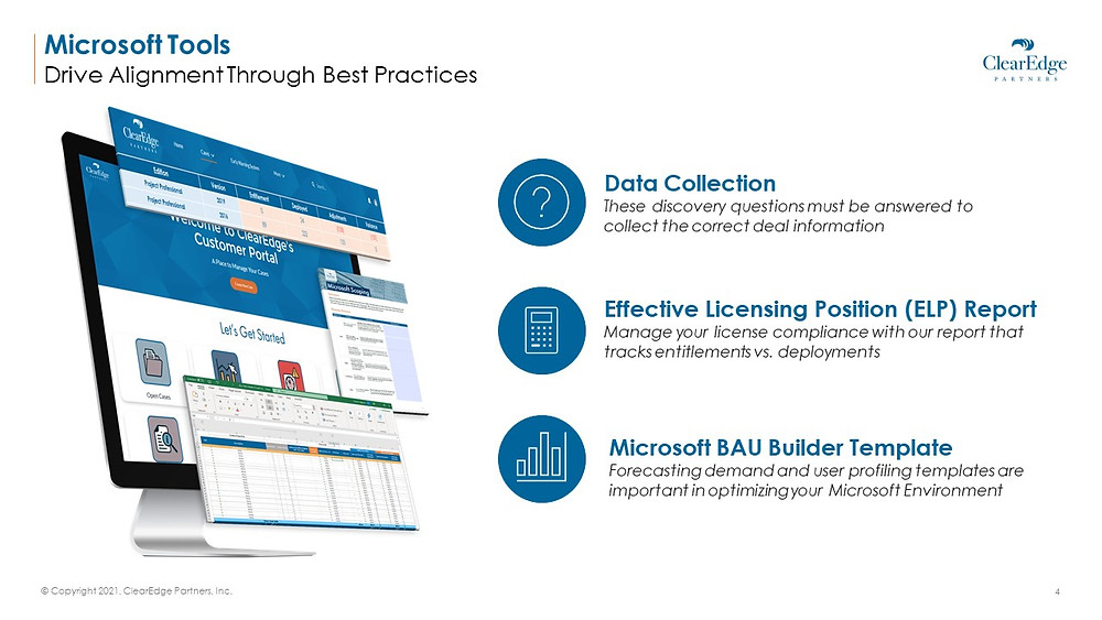 microsoft tools to drive alignment - data collection, effective licensing position, microsoft bau builder template