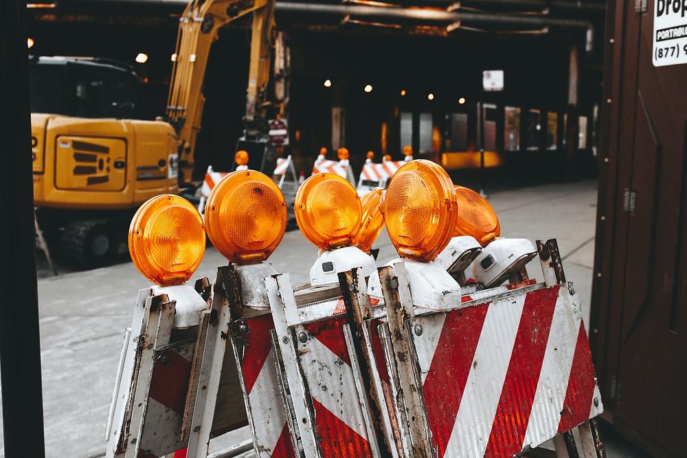 Roadblock in a construction zone