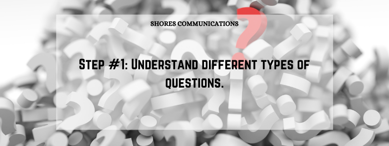 """Pile of question marks with overlay text that says """"Understand different types of questions."""""""