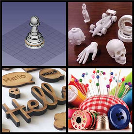 3D design of chess pawn, 3D printed parts, laser cut parts, sewing supplies