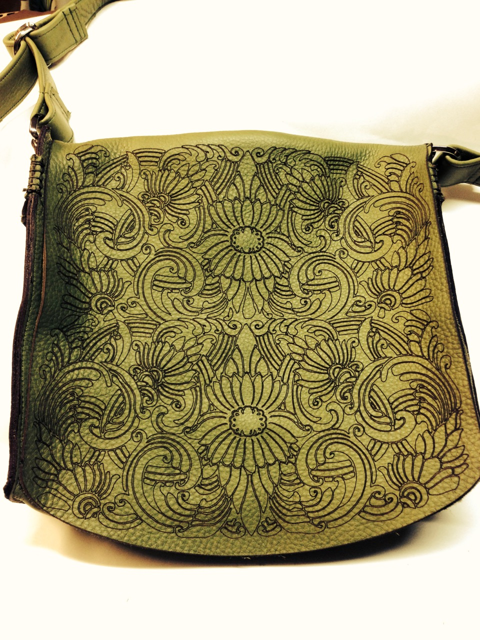 etched leather bag