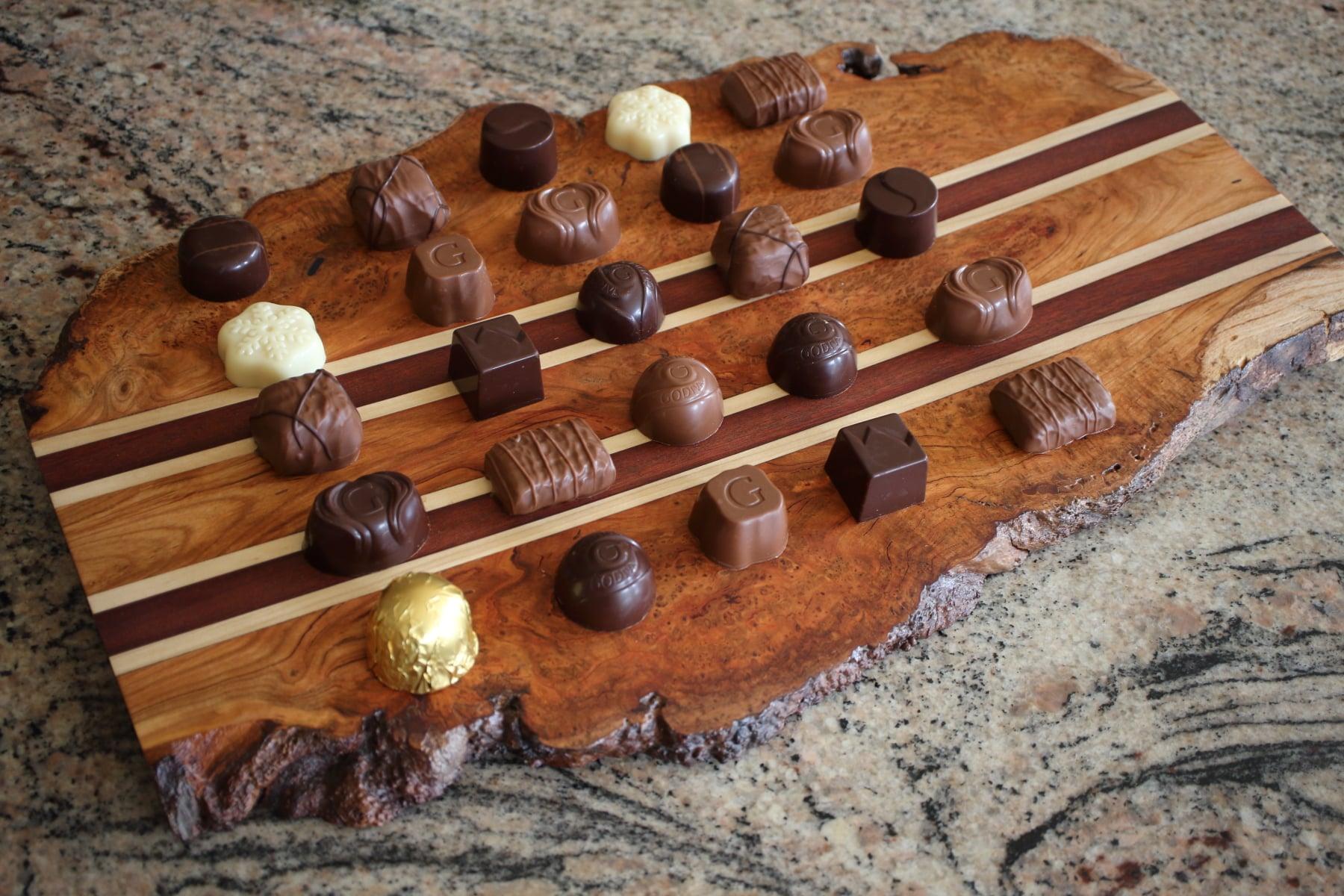 Cutting board with chocolates