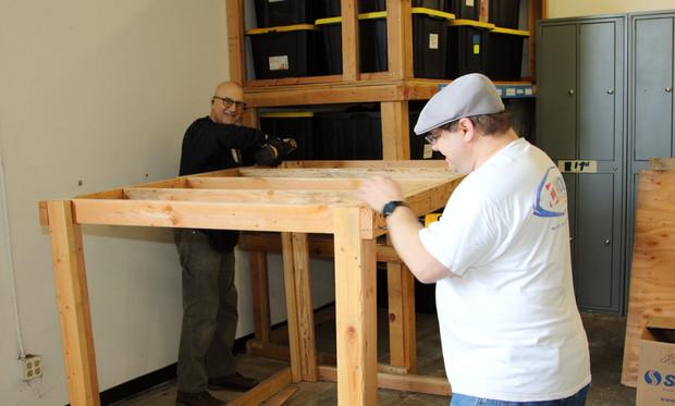 Taking apart old shelves