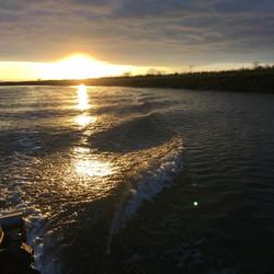 Boat wake sunset