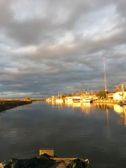 Shrimp Boats Lit Up By Sunset
