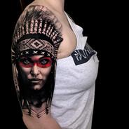 American Indian Realism tattoo Coen Mitchell Tattoo Gold Takapuna Tattoo Studio Auckland New Zealand