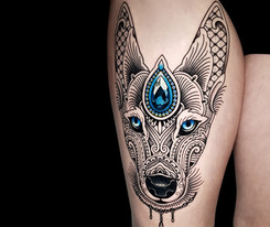Mosaic Flow Dog Tattoo Blue GemCoen Mitchell Tattoo Gold Takapuna Tattoo Studio Auckland New Zealand