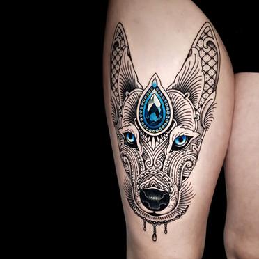 Mosaic Flow Dog Tattoo Blue GemCoen Mitchell Tattoo Gold Takapuna Tattoo Studio Auckland New Zealand