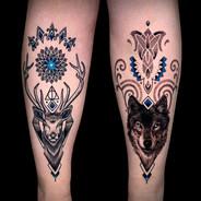 Coen Mitchell Tattoo Gold Takapuna Tattoo Studio Auckland New Zealand Shin Piece matching