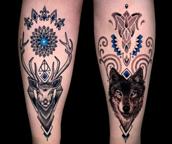 Coen Mitchell Tattoo Gold Takapuna Tattoo Studio Auckland New Zealand Shin Piece matching