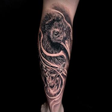 Coen Mitchell Tattoo Gold Takapuna Tattoo Studio Auckland New Zealand Realism Kiwi Deer tattoo
