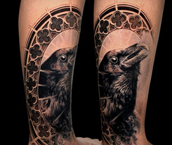 Coen Mitchell Tattoo Gold Takapuna Tattoo Studio Auckland New Zealand Raven tattoo