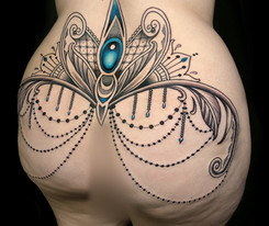 Bum tattoo Gem Mosaic Flow Coen Mitchell Tattoo Gold Takapuna Tattoo Studio Auckland New Zealand