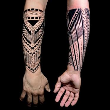 polynesian arm Coen Mitchell Tattoo Gold Takapuna Tattoo Studio Auckland New Zealand