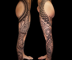 Matching Leg tattoo Coen Mitchell Tattoo Gold Takapuna Tattoo Studio Auckland New Zealand