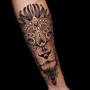 Mosaic Flow Lion tattoo Coen Mitchell Tattoo Gold Takapuna Tattoo Studio Auckland New Zealand