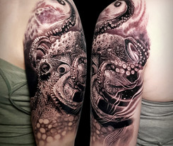 Octopus Coen Mitchell Tattoo Gold Takapuna Tattoo Studio Auckland New Zealand