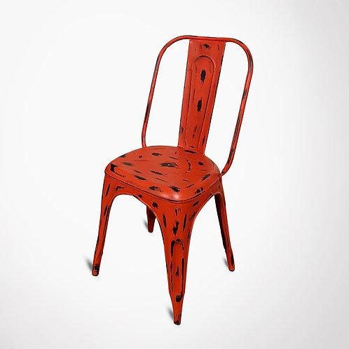 Chaise métal orange vif