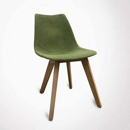 Chaise scandinave tissu vert