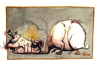 catoblepas Watercolor and Pen&ink