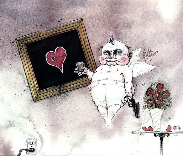 loveShot!  watercolor and Pen&ink