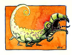 basilisk Watercolor and Pen&ink
