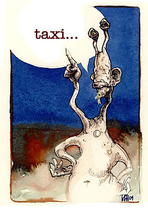 Alien hails a taxi Watercolor and Pen&ink