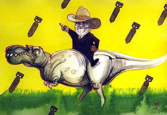 carnegie T-rex watercolor pen&ink