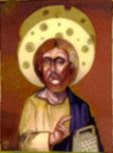 Jesus with cheese illustration