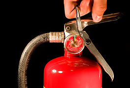 Red Fire Extinguisher silver handle