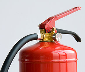 Red Fire Extinguisher close up