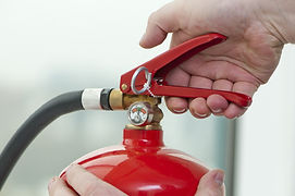 press the handle Fire Extinguisher