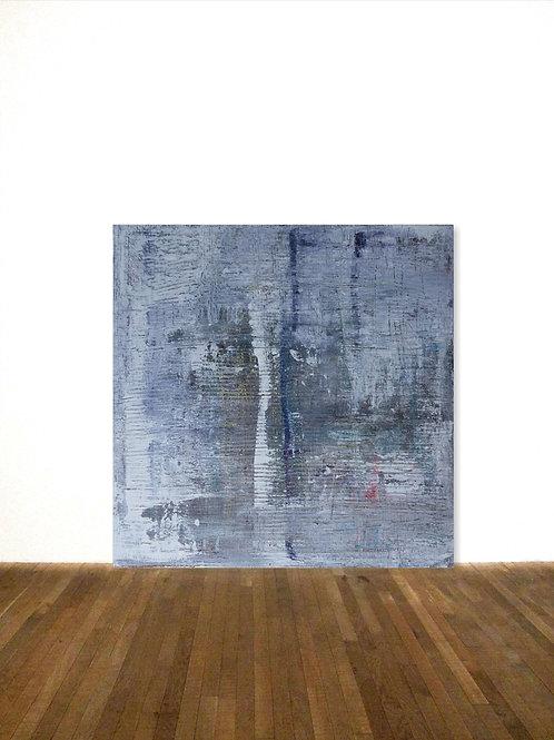BILD WEIß GRAU 100 x 100cm LEINWAND ABSTRACT PAINTING FINE ART