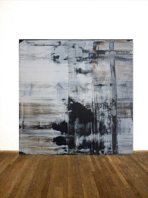 BILD GEMÄLDE 100x100cm BLACK WHITE ABSTRACT PAINTING FINE ART