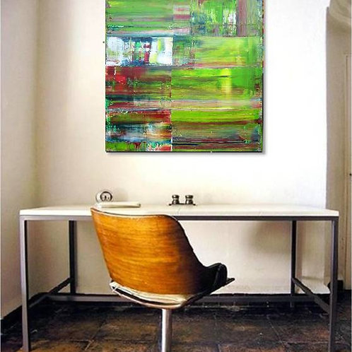 LEINWAND RAKELTECHNIK BILD GEMÄLDE 100x100cm ABSTRACT PAINTING