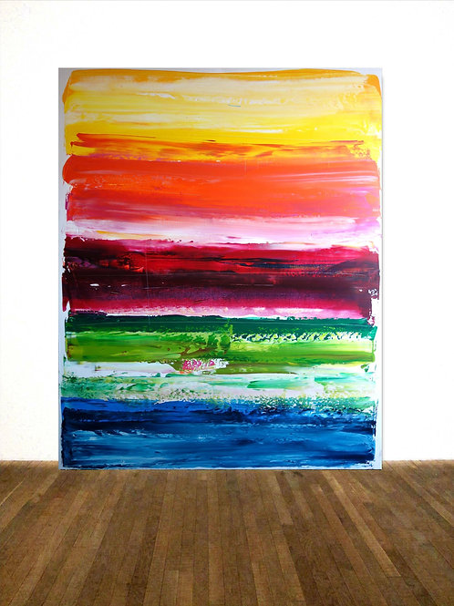RAINBOW BILD RAKELTECHNIK NACH RICHTER 120x150cm ABSTRACT PAINTING