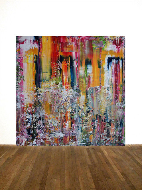 BILD RAKELTECHNIK NACH RICHTER 100x100cm ABSTRACT PAINTING OOAK