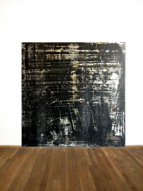 SCHWARZ BILD 100x100cm BLACK WHITE ABSTRACT PAINTING FINE ART